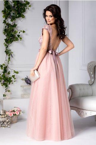 Rochie Michelle lunga de seara roz cu broderie la bust