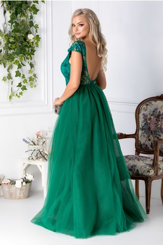 Rochie Michelle lunga verde deschis cu broderie la bust