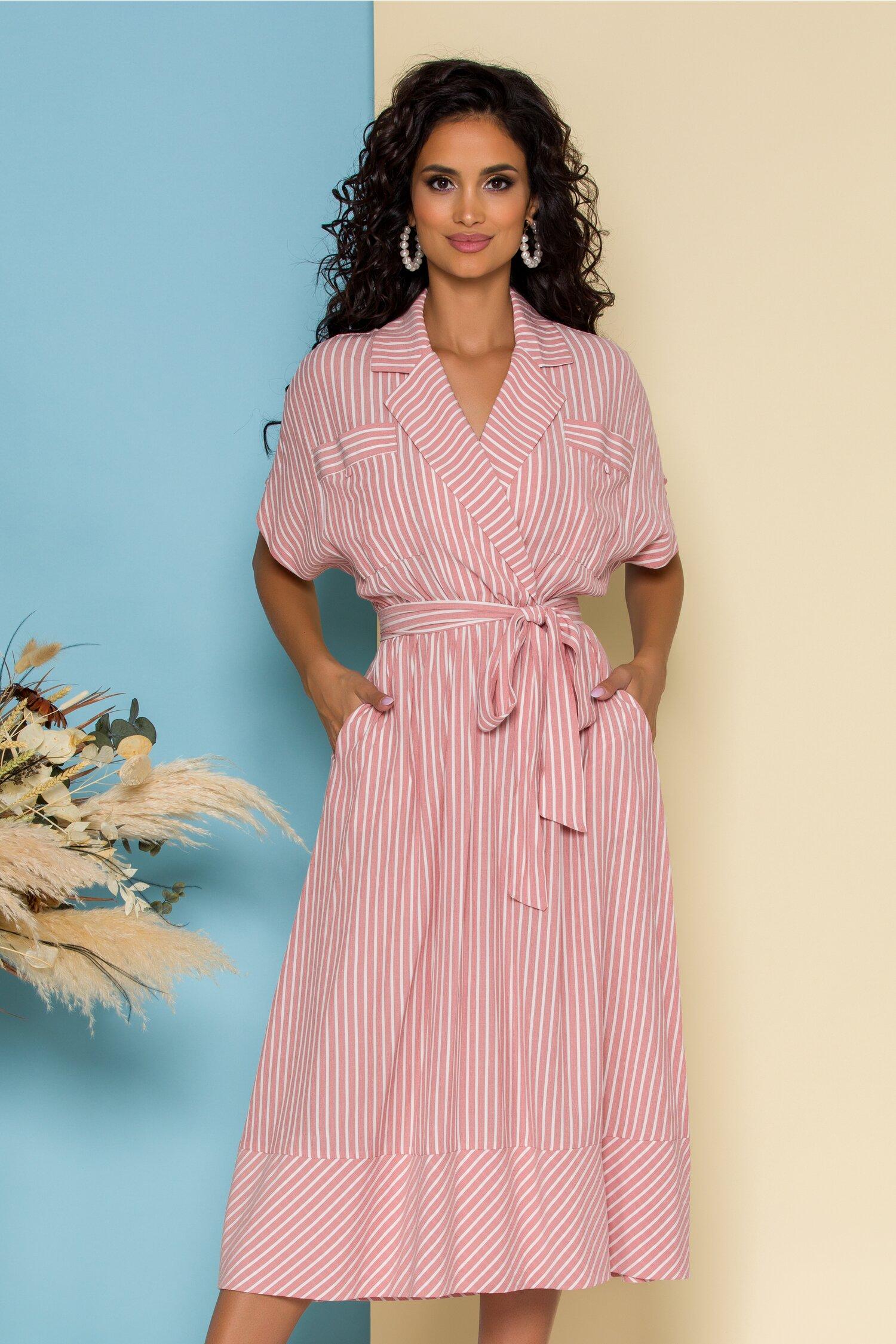 Rochie Micka roz cu dungi albe
