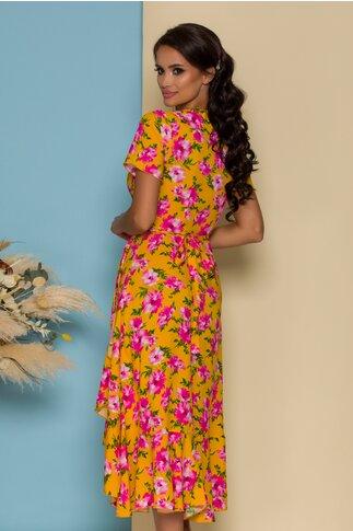 Rochie midi galbena petrecuta cu imprimeuri florale fucsia