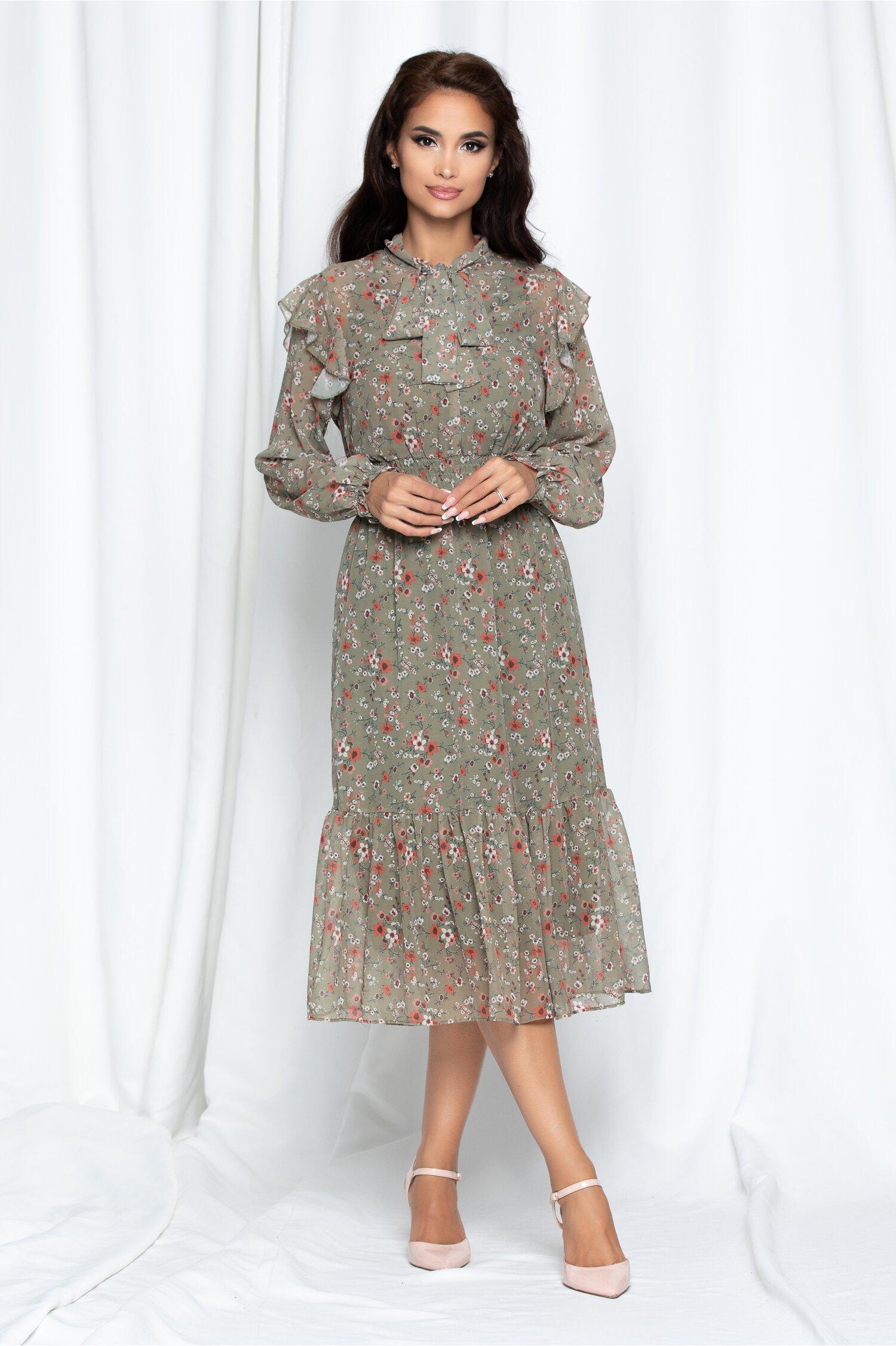 Rochie midi kaki imprimata floral