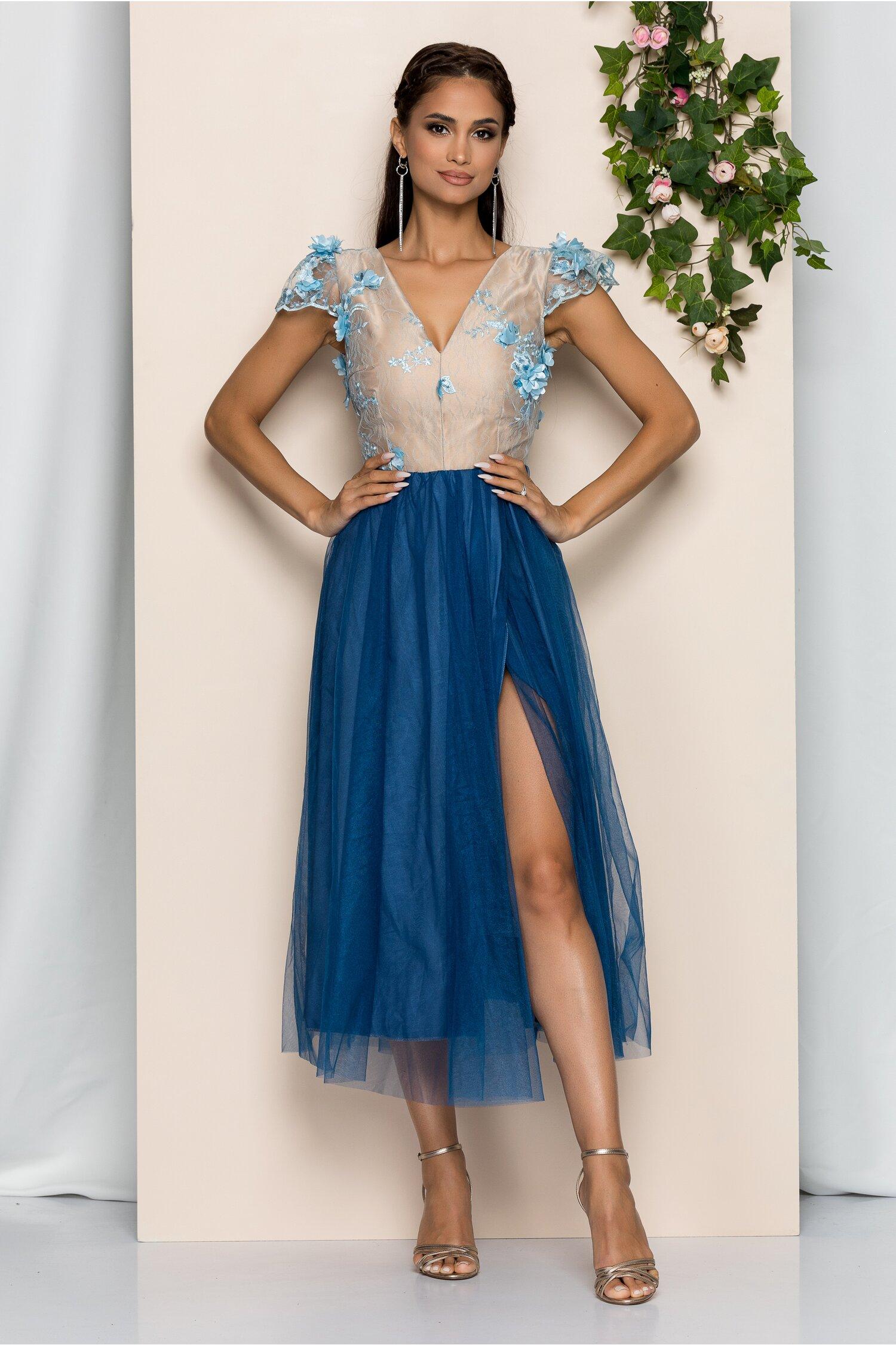 Rochie midi Moze bleumarin cu bust nude si dantela brodata
