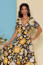 Rochie midi neagra petrecuta cu imprimeuri florale galbene