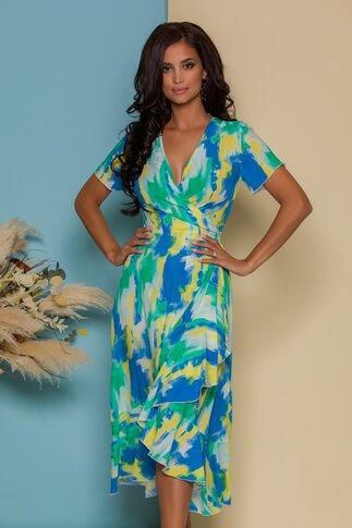 Rochie midi petrecuta cu imprimeuri in nuante de galben albastru si verde