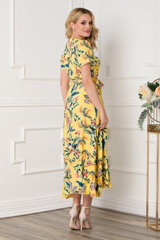 Rochie midi petrecuta galbena cu imprimeuri florale