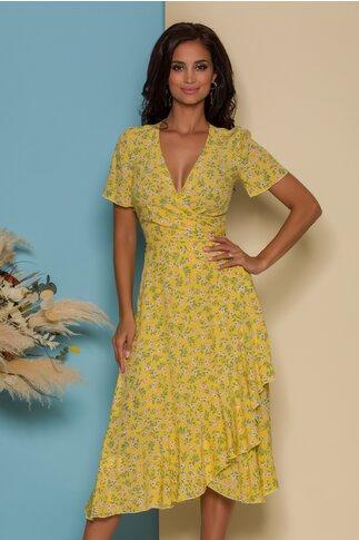 Rochie midi petrecuta galbena cu imprimeuri florale in nuante pastelate