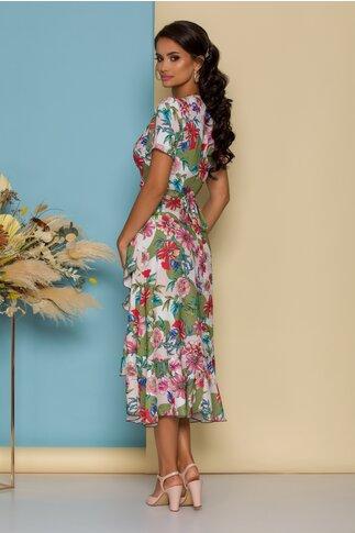 Rochie midi verde olive petrecuta cu imprimeuri florale colorate