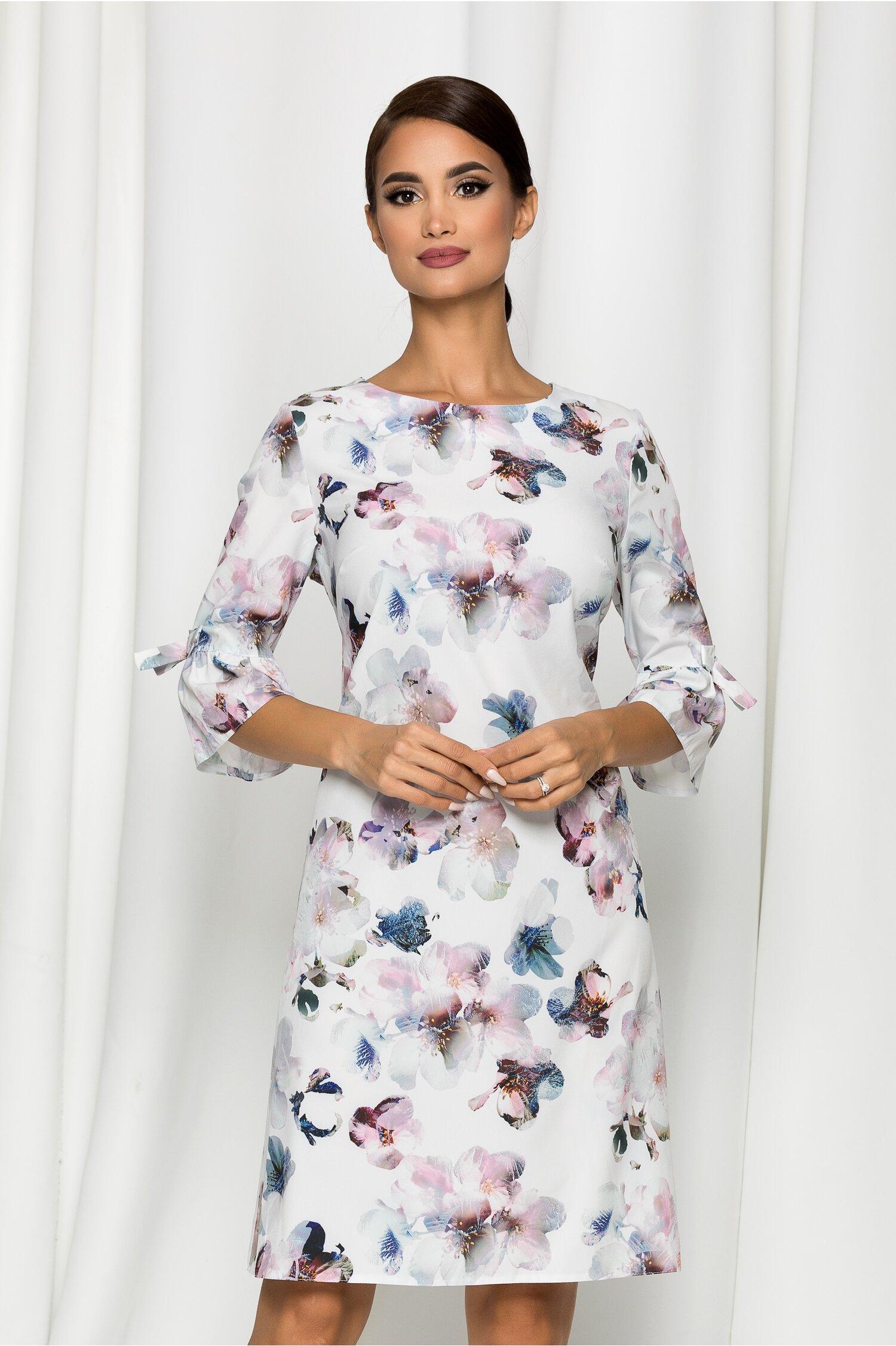 Rochie Mihaela alba cu imprimeu floral si maneci tip clopot