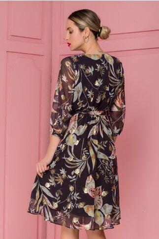 Rochie Mihaela neagra cu imprimeuri florale si insertii aurii