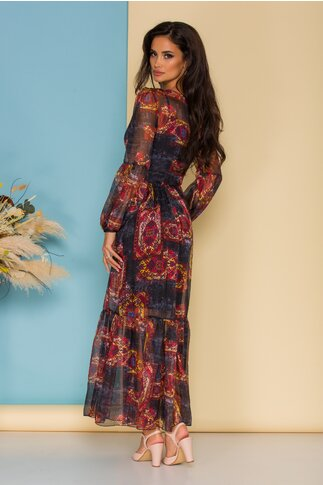 Rochie Mika lunga din voal bleumarin cu imprimeuri colorate