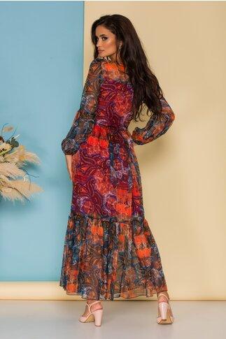 Rochie Mika lunga din voal orange cu imprimeuri colorate