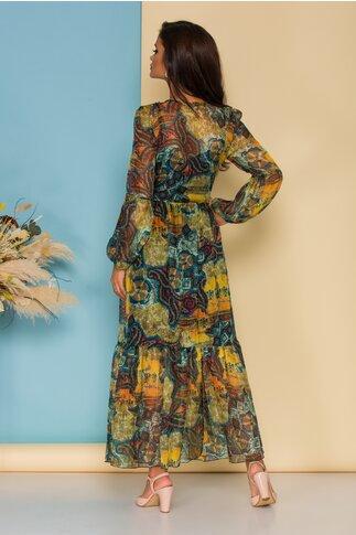 Rochie Mika lunga din voal verde cu imprimeuri colorate