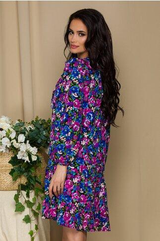 Rochie Mika neagra cu imprimeuri florale albastre