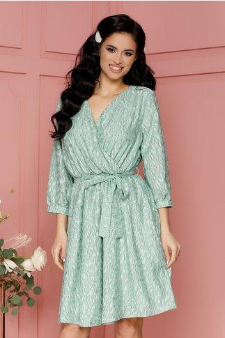 Rochie Mika verde mint cu model deosebit
