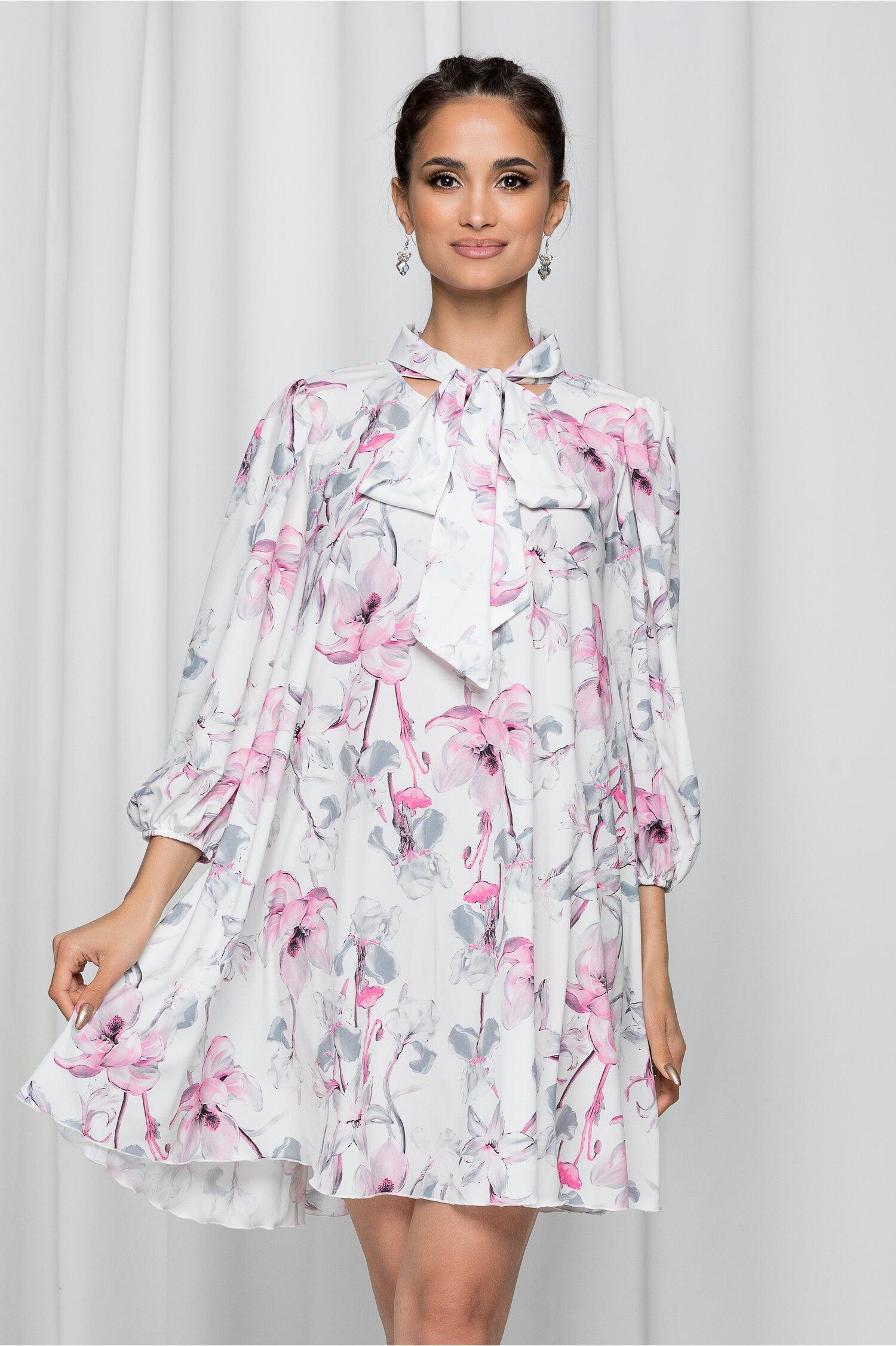 Rochie Mikaela alba cu guler tip esarfa si imprimeu floral roz