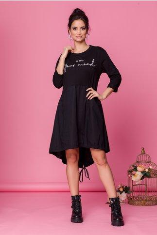 Rochie Miki negru cu imprimeu text