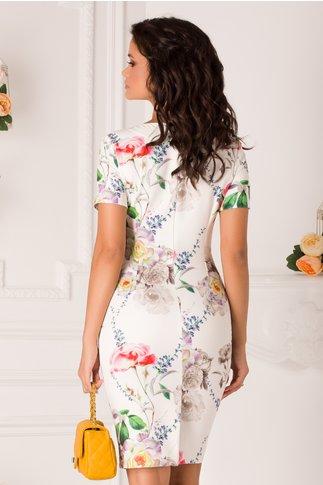 Rochie Mikki alba cu imprimeu floral si decolteu in V petrecut
