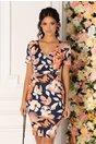 Rochie Mikki bleumarin cu imprimeu floral in nuante de caramiziu si decolteu petrecut