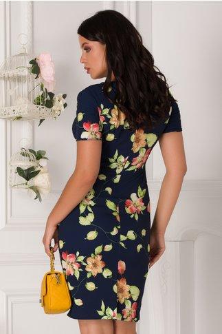 Rochie Mikki bleumarin cu imprimeu floral si decolteu petrecut