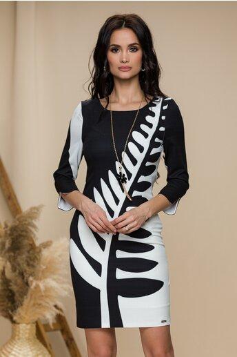 Rochie Mikky negru cu alb si imprimeu maxi