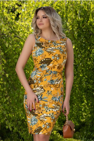 Rochie Miky galben mustar cu imprimeu floral