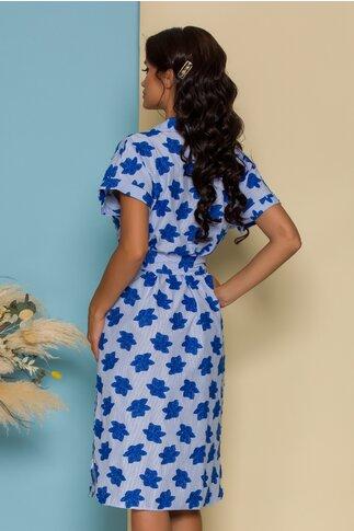 Rochie Mila bleu cu dungi si broderie albastra