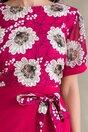 Rochie Milena rosu zmeura cu imprimeuri florale bej la bust