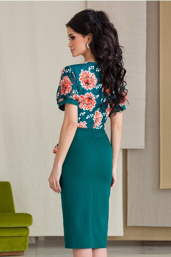 Rochie Milena verde cu imprimeuri florale orange la bust