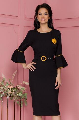 Rochie Millie neagra cu maneci clopot si trandafir galben aplicat