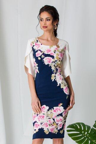 Rochie Mimi bleumarin si ivoire cu imprimeu floral roz