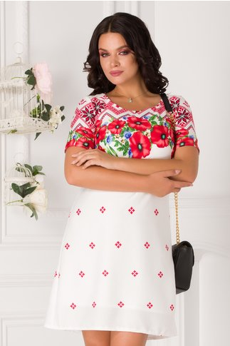 Rochie Mina alba cu imprimeuri traditionale rosii