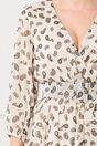 Rochie Mina bej cu imprimeu mini floral si curea in talie