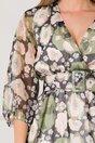 Rochie Mina gri cu imprimeu floral verde-roz si curea in talie