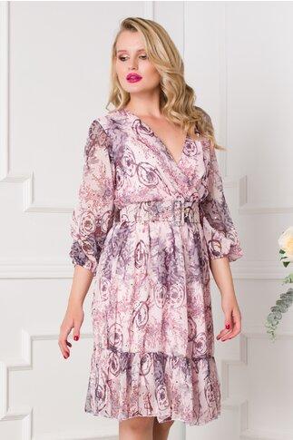 Rochie Mina roz pal cu imprimeuri si curea in talie