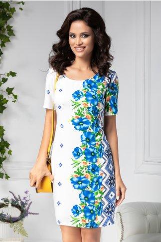 Rochie Mira alba cu flori albastre si motive traditionale