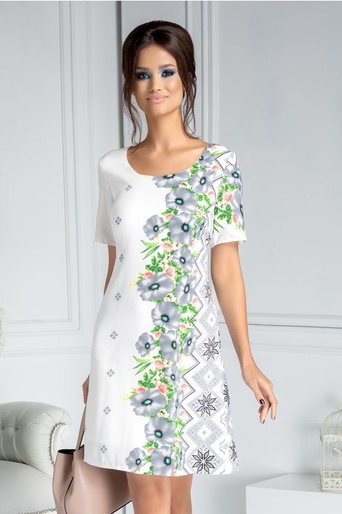 Rochie Mira alba cu flori gri si motive traditionale