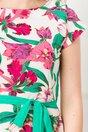 Rochie Mira alba cu imprimeuri florale fucsia si verzi