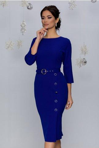 Rochie Mira albastra cu nasturi fantezie decorativi