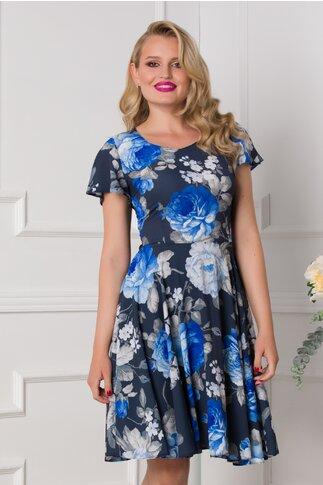 Rochie Mira bleumarin cu imprimeu floral in nuante de albastru
