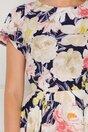 Rochie Mira bleumarin cu imprimeu floral in nuante de bej si roz
