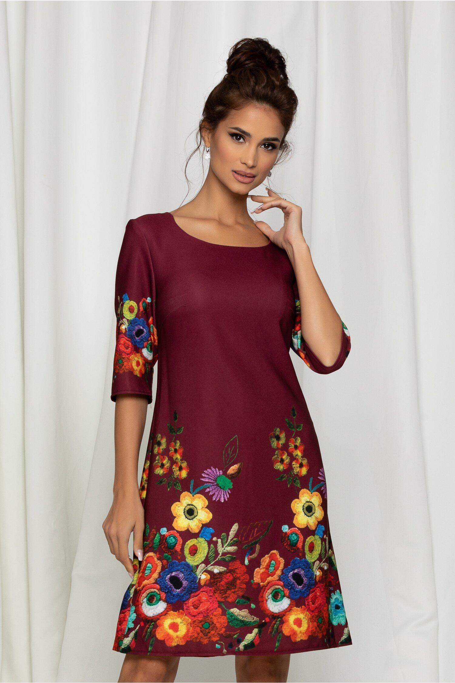 Rochie Mira bordo cu flori colorate