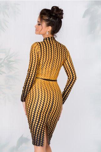 Rochie Mira cu imprimeuri galbene