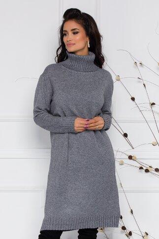Rochie Mira gri lejera din tricot