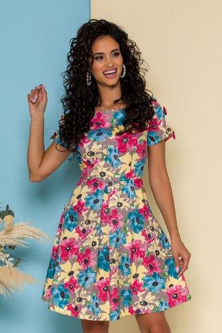 Rochie Mira maro cu imprimeu floral si fundite la maneci