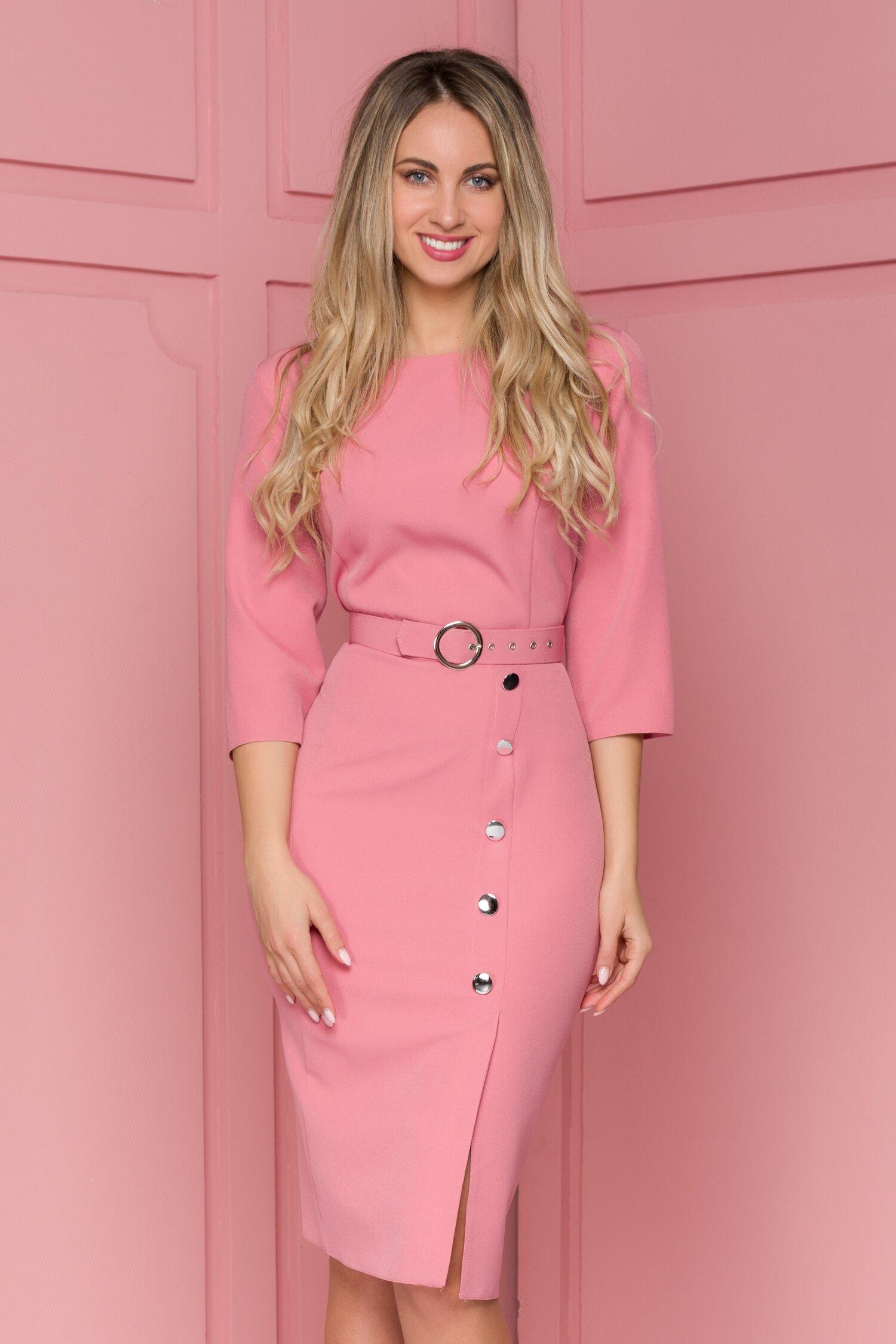 Rochie Mira roz cu nasturi fantezie decorativi