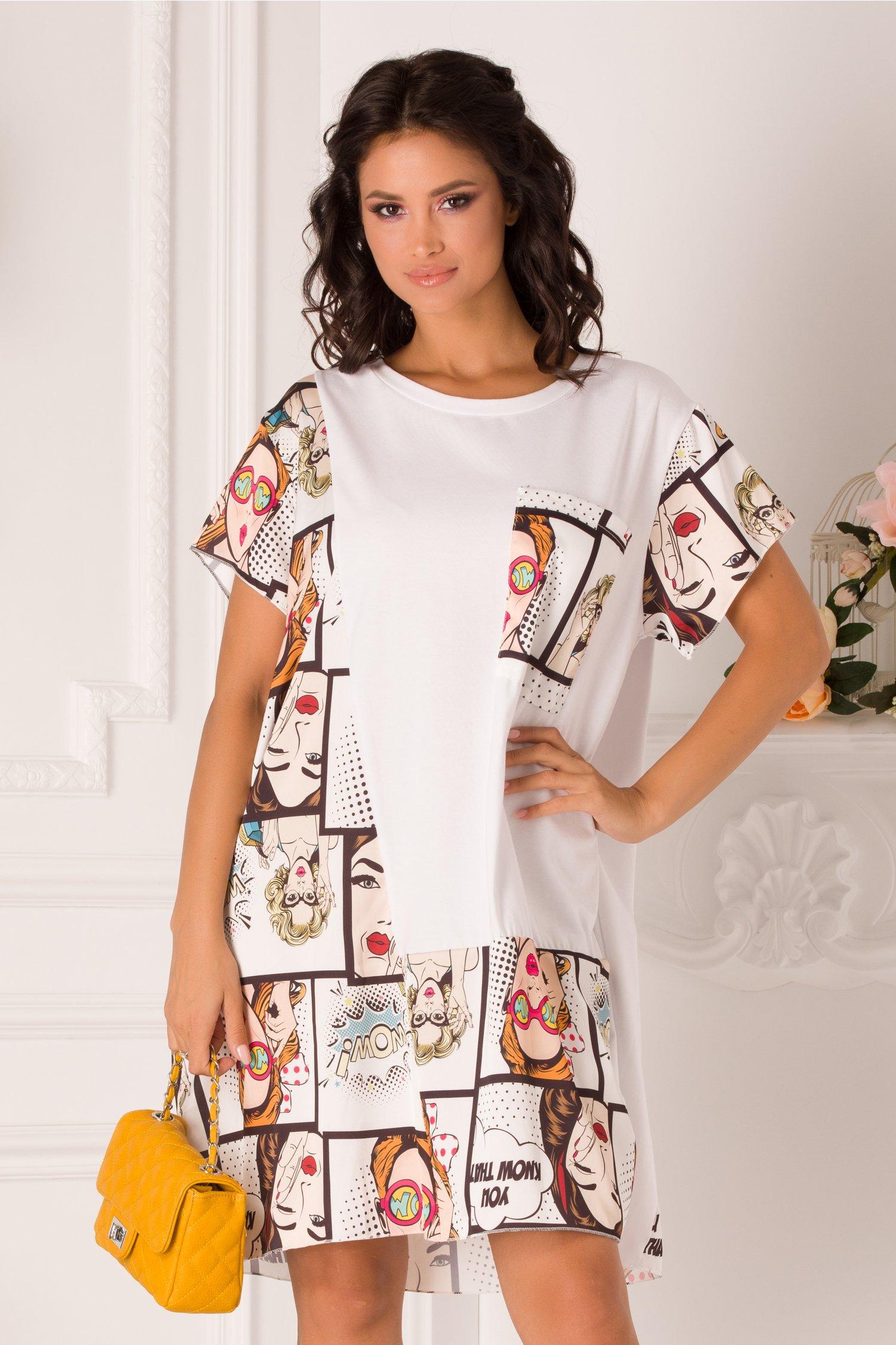 Rochie Mira tip tricou alba cu imprimeuri si buzunar