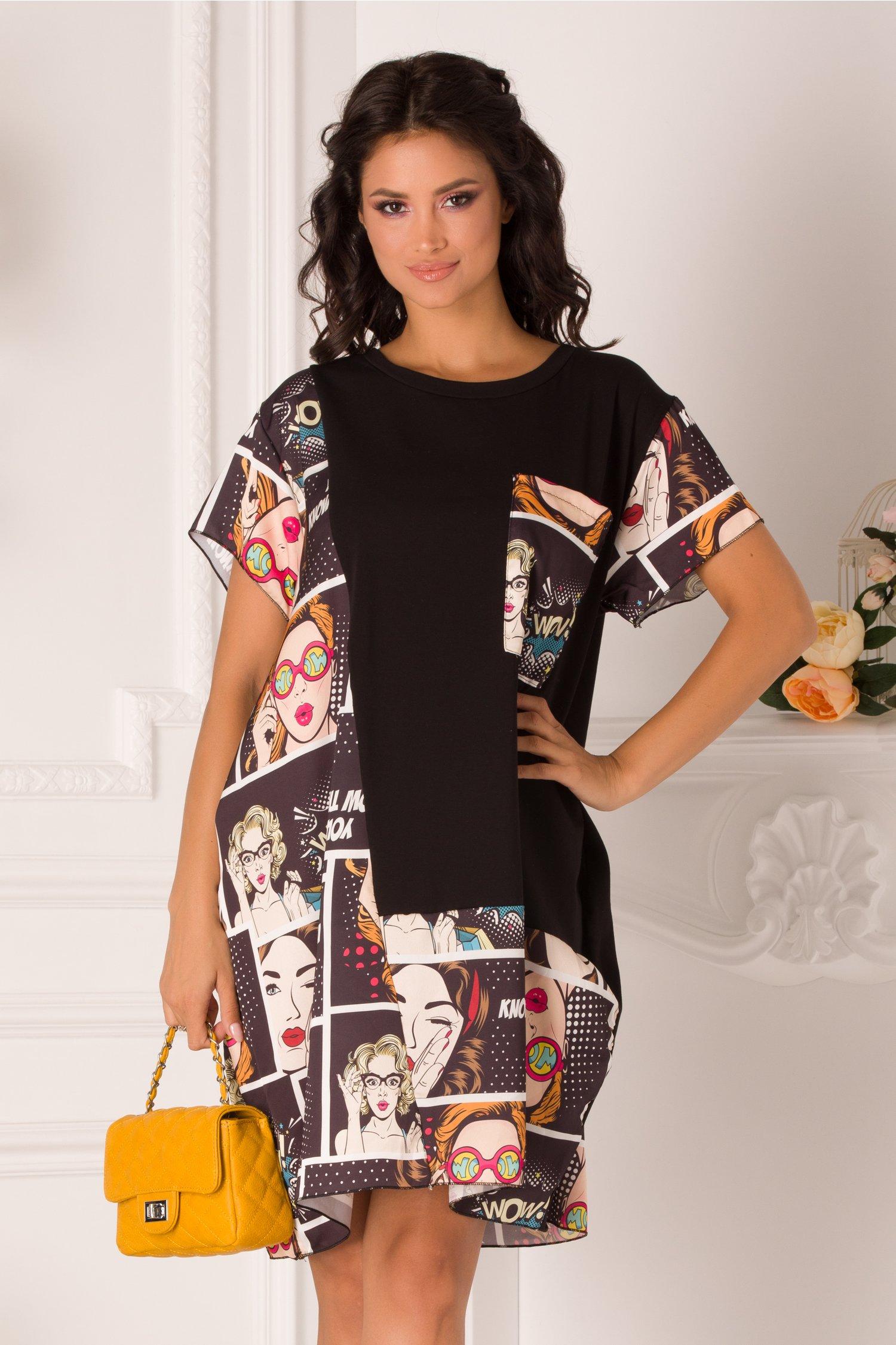 Rochie Mira tip tricou neagra cu imprimeuri si buzunar