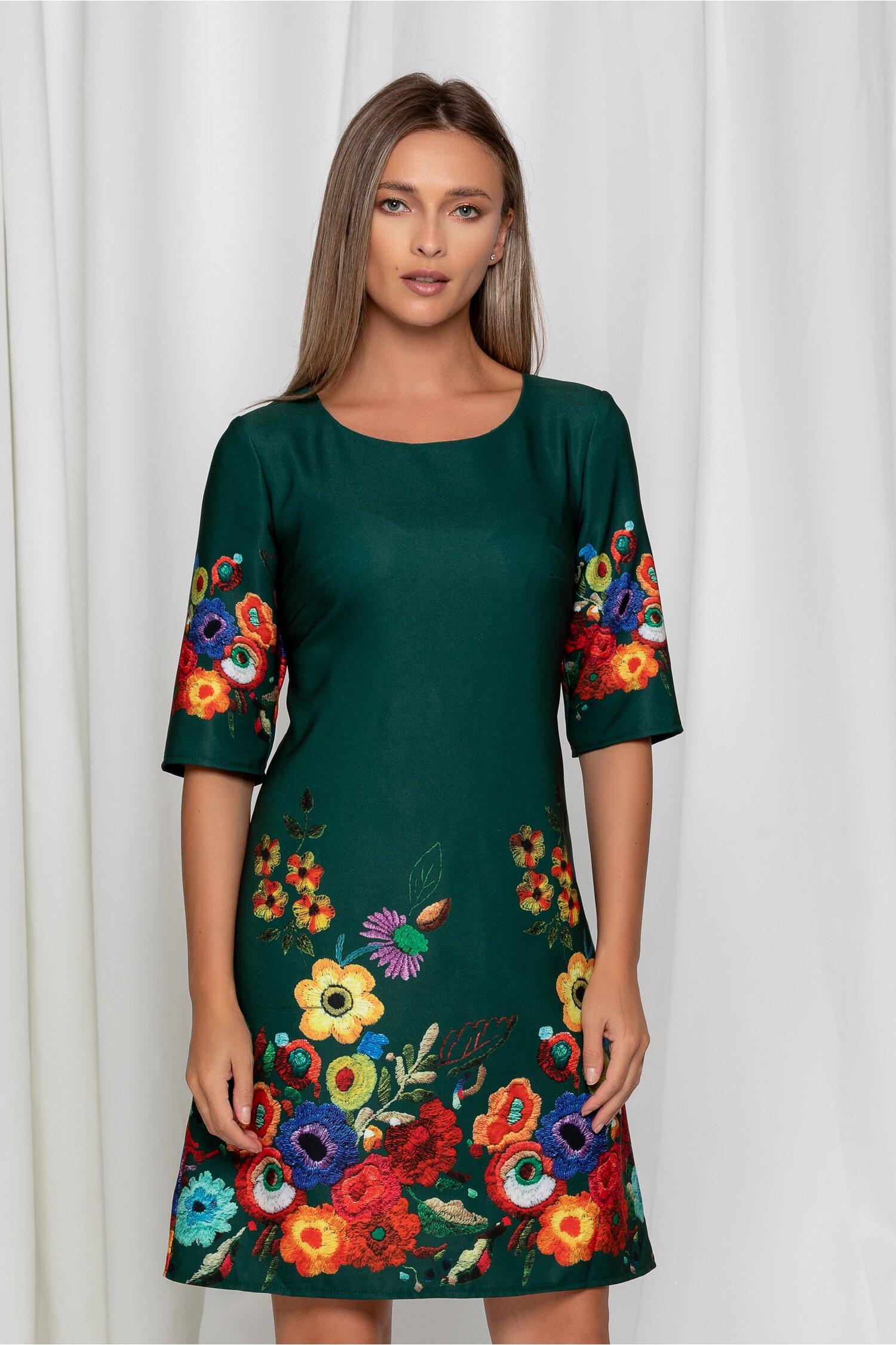 Rochie Mira verde dreapta cu flori colorate