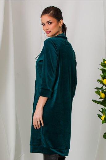 Rochie Mira verde petrol casual din catifea cu guler maxi