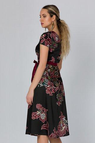 Rochie Mirabela neagra cu imprimeu floral